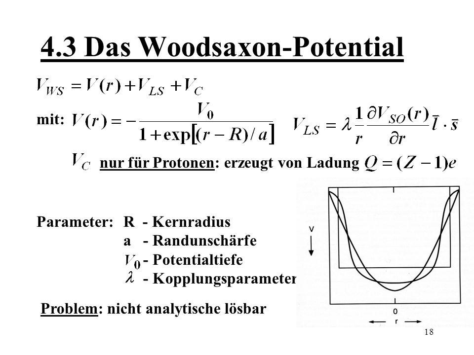 19 5.0 Fragen und Vorhersagen 1.Modell stimmt auch für Kerne mit einem fehlenden Nukleon zur magischen Konfiguration 2.Für Nukleonen mit einem Valenznukleon sind Anregungen leicht berechenbar 3.Warum bewegen sich Nukleonen unabhängig, obwohl der Kern sehr dicht gepackt´ist?