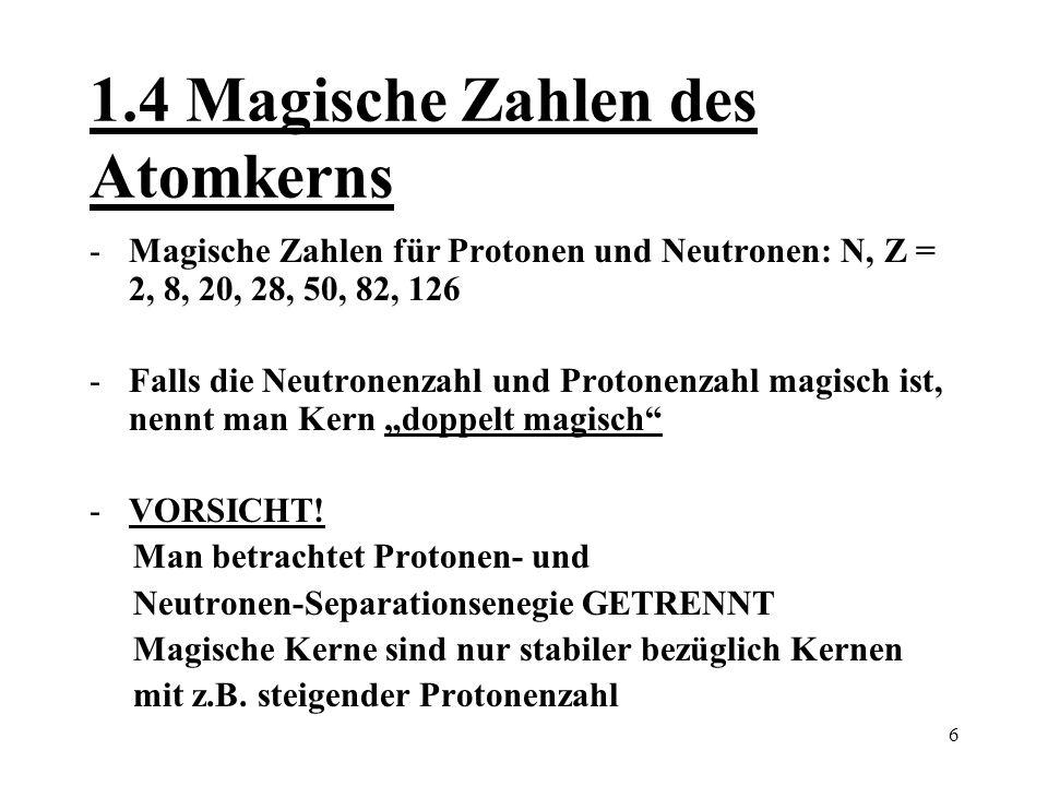 7 2.0 Das mittlere Kernpotential Energie Nukleon-Nukleon-Wechselwirkung Besser: Alle Wechselwirkungen der anderen Nukleonen auf ein bestimmtes Teilchen i können zu einem Potential gemittelt werden