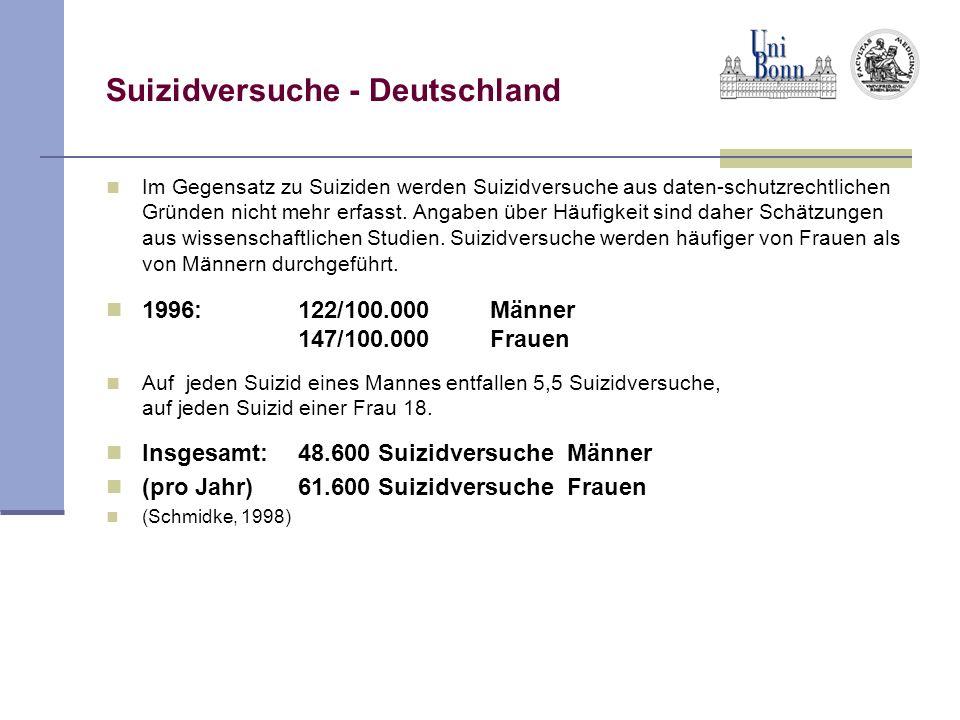 Suizidversuche - Deutschland Im Gegensatz zu Suiziden werden Suizidversuche aus daten-schutzrechtlichen Gründen nicht mehr erfasst. Angaben über Häufi