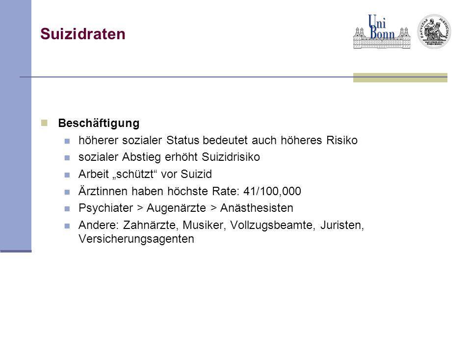 Suizidraten Beschäftigung höherer sozialer Status bedeutet auch höheres Risiko sozialer Abstieg erhöht Suizidrisiko Arbeit schützt vor Suizid Ärztinne