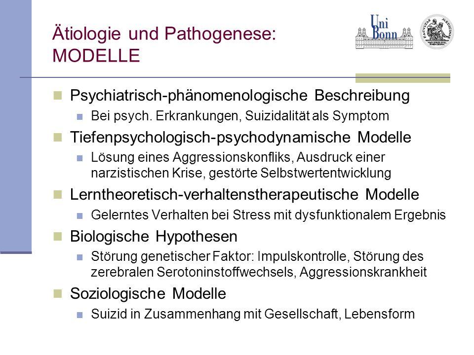 Ätiologie und Pathogenese: MODELLE Psychiatrisch-phänomenologische Beschreibung Bei psych. Erkrankungen, Suizidalität als Symptom Tiefenpsychologisch-