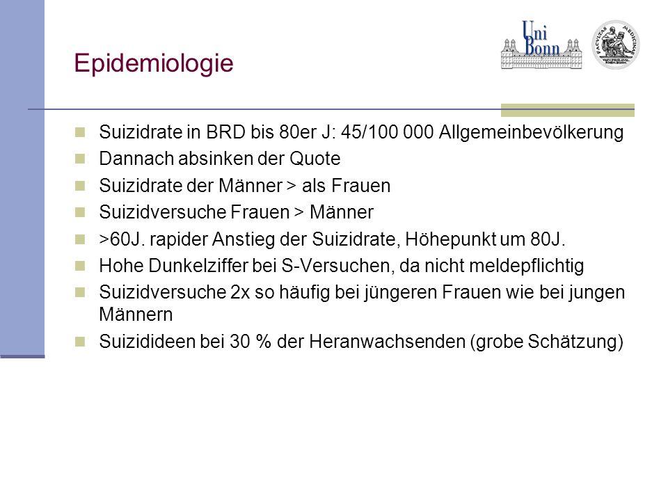 Epidemiologie Suizidrate in BRD bis 80er J: 45/100 000 Allgemeinbevölkerung Dannach absinken der Quote Suizidrate der Männer > als Frauen Suizidversuc