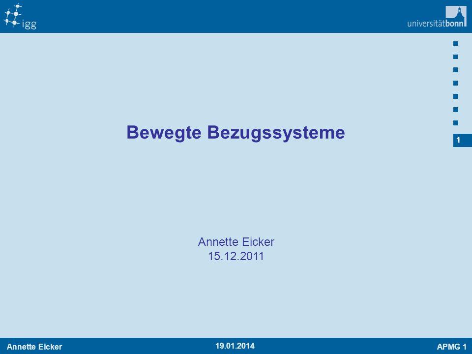 Annette EickerAPMG 1 32 -19.01.2014 Rotierendes Koordinatensystem x Änderung der Koordinaten im System B (Geschwindigkeit im System B) Änderung der Koordinaten im System B (Geschwindigkeit im System B) Drehung des Koordinatensystems B