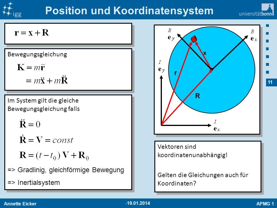 Annette EickerAPMG 1 11 -19.01.2014 Position und Koordinatensystem x r R Bewegungsgleichung Im System gilt die gleiche Bewegungsgleichung falls => Gra