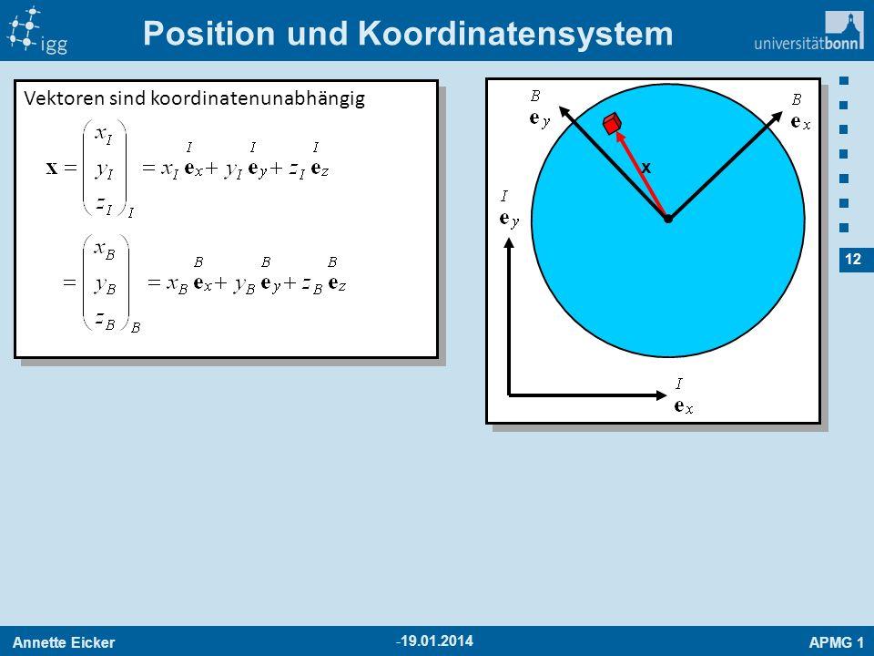 Annette EickerAPMG 1 12 -19.01.2014 Position und Koordinatensystem x Vektoren sind koordinatenunabhängig