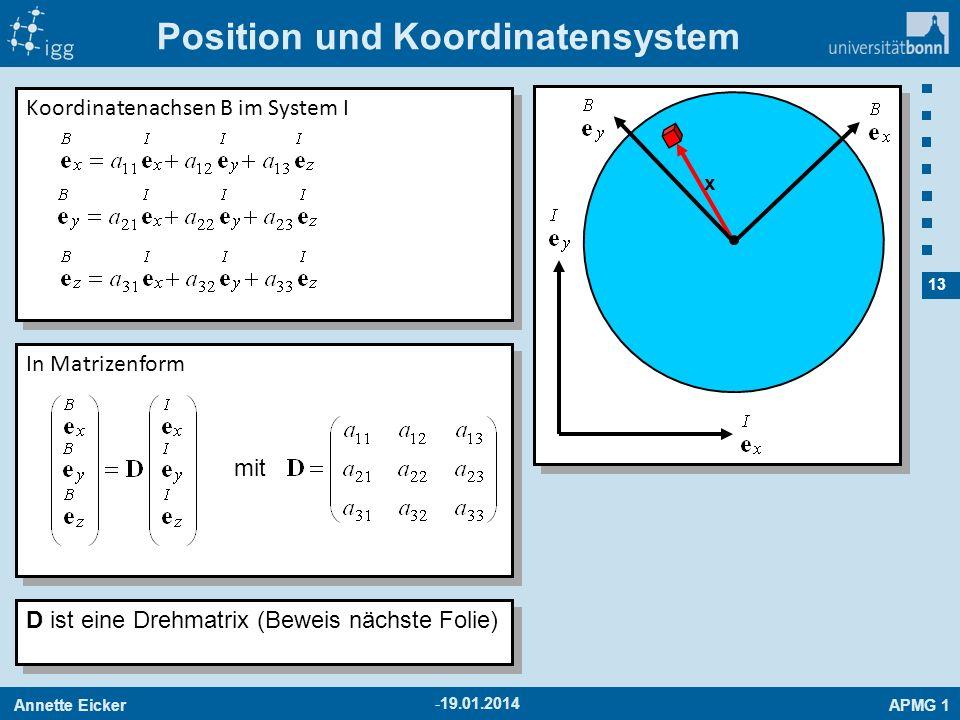 Annette EickerAPMG 1 13 -19.01.2014 Position und Koordinatensystem x Koordinatenachsen B im System I In Matrizenform mit D ist eine Drehmatrix (Beweis