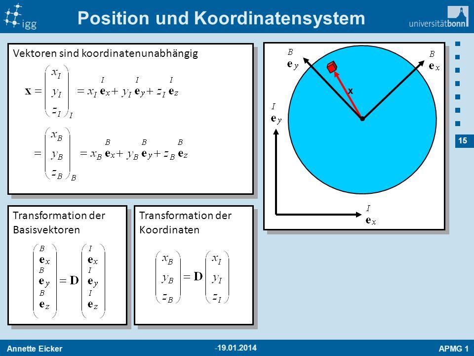 Annette EickerAPMG 1 15 -19.01.2014 Position und Koordinatensystem x Vektoren sind koordinatenunabhängig Transformation der Basisvektoren Transformati