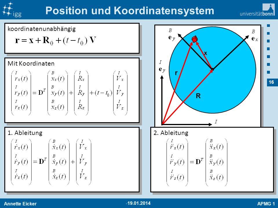 Annette EickerAPMG 1 16 -19.01.2014 Position und Koordinatensystem x koordinatenunabhängig r R Mit Koordinaten 1. Ableitung 2. Ableitung