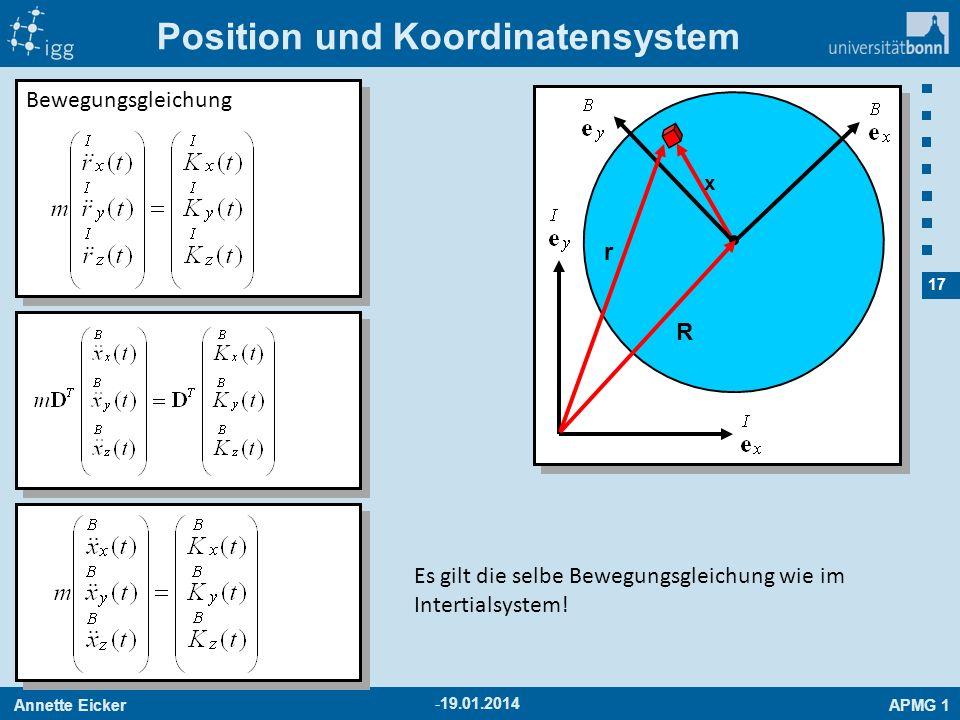Annette EickerAPMG 1 17 -19.01.2014 Position und Koordinatensystem x r R Bewegungsgleichung Es gilt die selbe Bewegungsgleichung wie im Intertialsyste