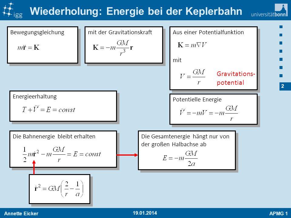 Annette EickerAPMG 1 2 19.01.2014 Wiederholung: Energie bei der Keplerbahn Die Bahnenergie bleibt erhalten Bewegungsgleichung mit der Gravitationskraf