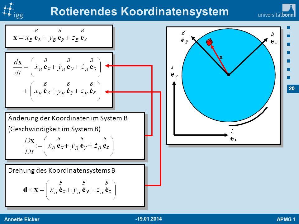 Annette EickerAPMG 1 20 -19.01.2014 Rotierendes Koordinatensystem x Änderung der Koordinaten im System B (Geschwindigkeit im System B) Änderung der Ko