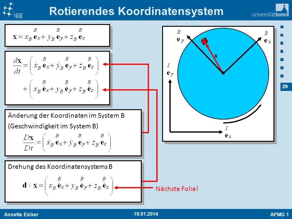 Annette EickerAPMG 1 29 -19.01.2014 Rotierendes Koordinatensystem x Änderung der Koordinaten im System B (Geschwindigkeit im System B) Änderung der Ko