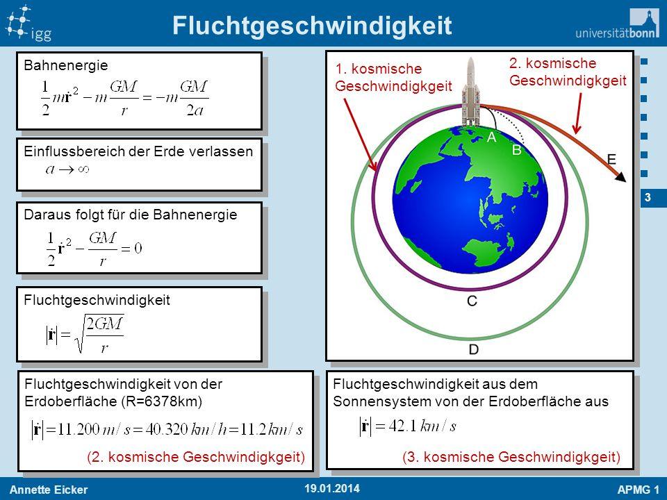 Annette EickerAPMG 1 4 19.01.2014 Bahnenergie Wiederholung: Satellitenparadoxon Änderung der Geschwindigkeit Umlaufzeit Satellitenparadoxon: Eine Erhöhung der Geschwindigkeit führt zu einer größeren Umlaufzeit.