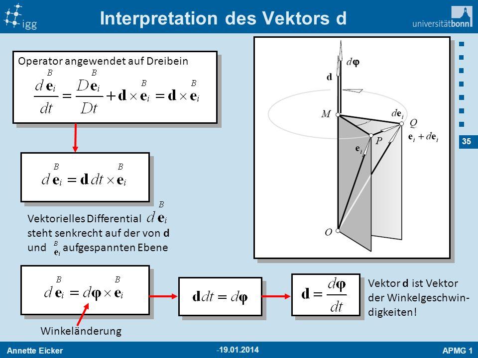 Annette EickerAPMG 1 35 Interpretation des Vektors d -19.01.2014 Operator angewendet auf Dreibein Vektorielles Differential steht senkrecht auf der vo