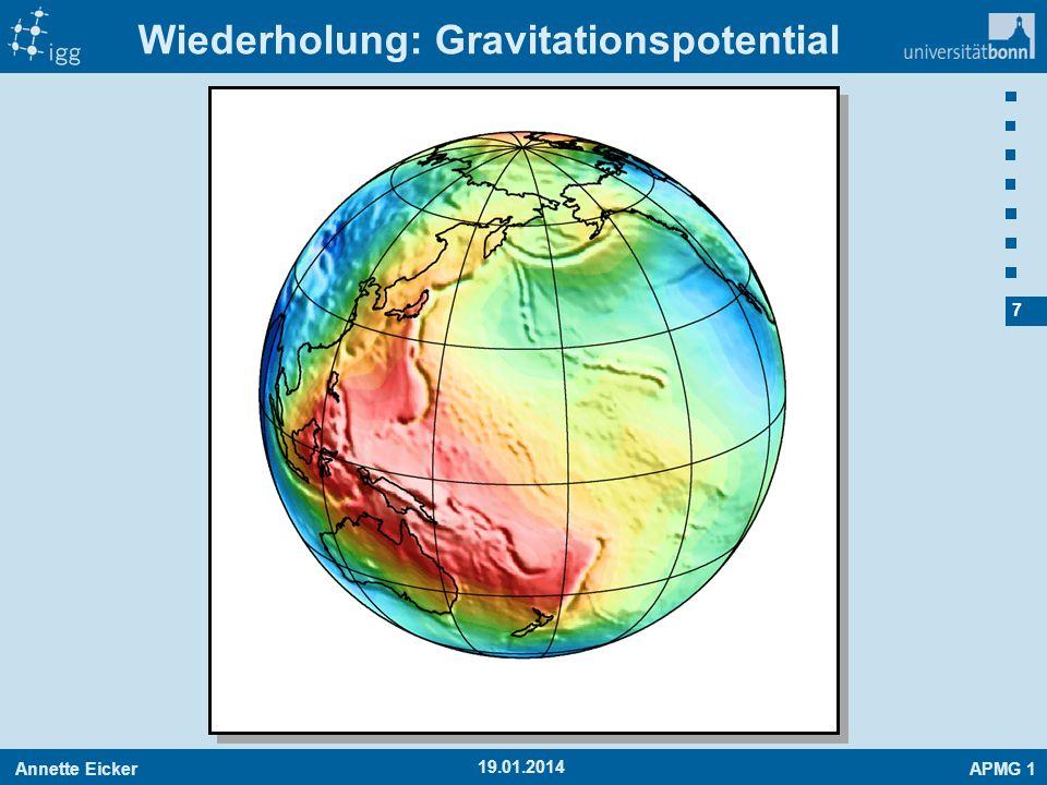 Annette EickerAPMG 1 7 19.01.2014 Wiederholung: Gravitationspotential