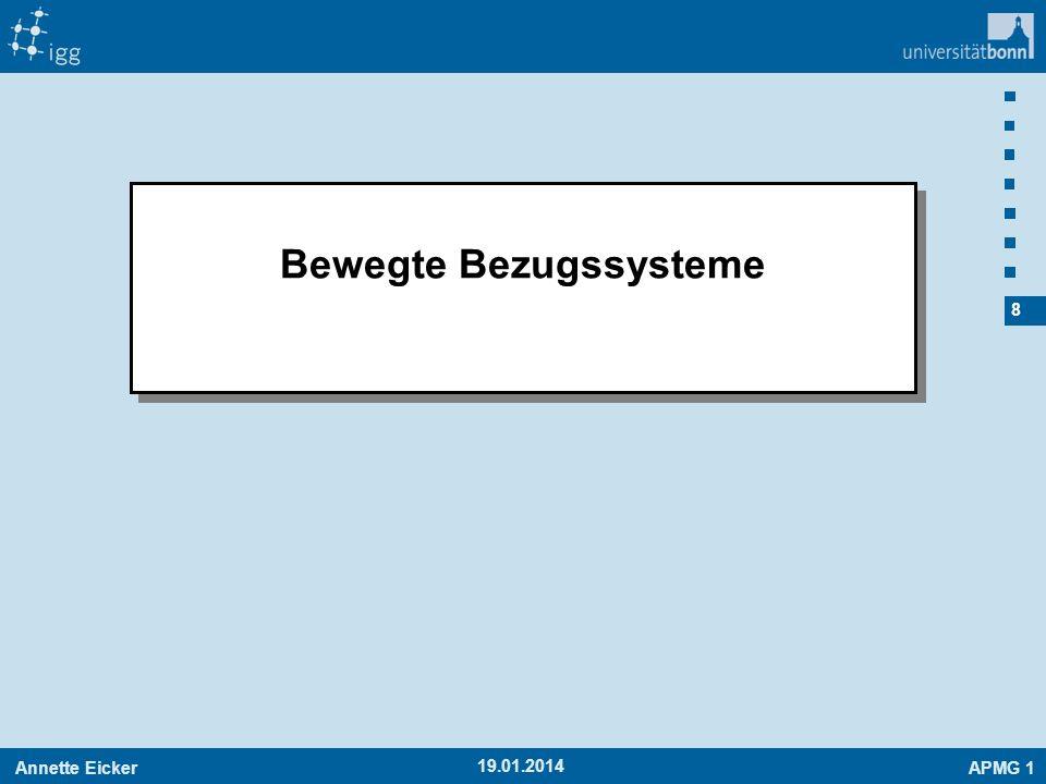 Annette EickerAPMG 1 39 -19.01.2014 Ableitung Ableitungsoperator Ableitung des Drehvektors in beiden Systemen gleich