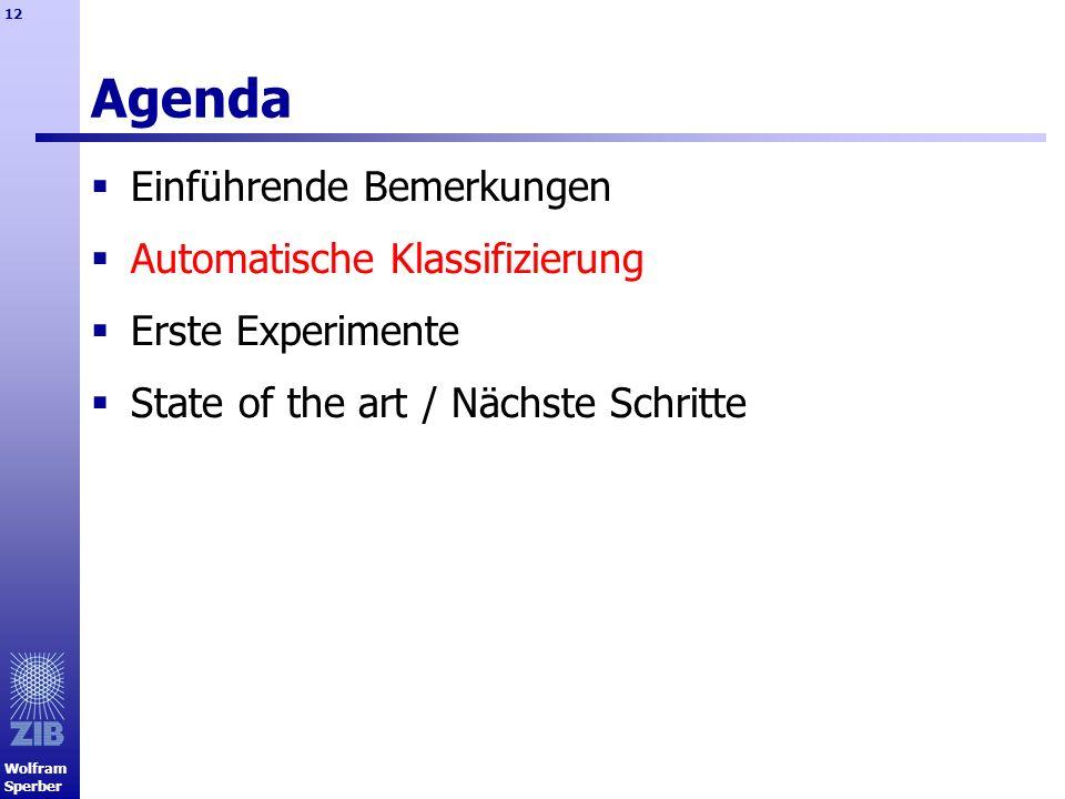 Wolfram Sperber 12 Agenda Einführende Bemerkungen Automatische Klassifizierung Erste Experimente State of the art / Nächste Schritte