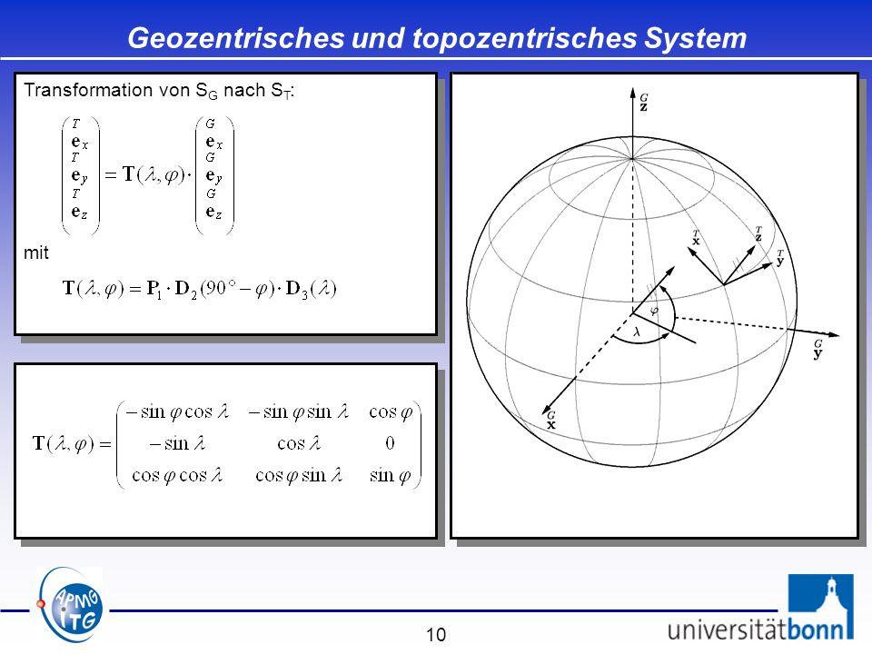10 Transformation von S G nach S T : mit Transformation von S G nach S T : mit Geozentrisches und topozentrisches System