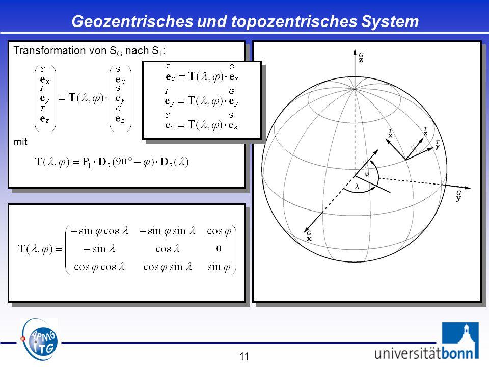 11 Transformation von S G nach S T : mit Transformation von S G nach S T : mit Geozentrisches und topozentrisches System