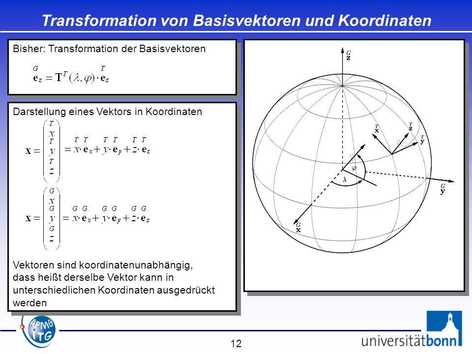 12 Transformation von Basisvektoren und Koordinaten Bisher: Transformation der Basisvektoren Darstellung eines Vektors in Koordinaten Vektoren sind ko