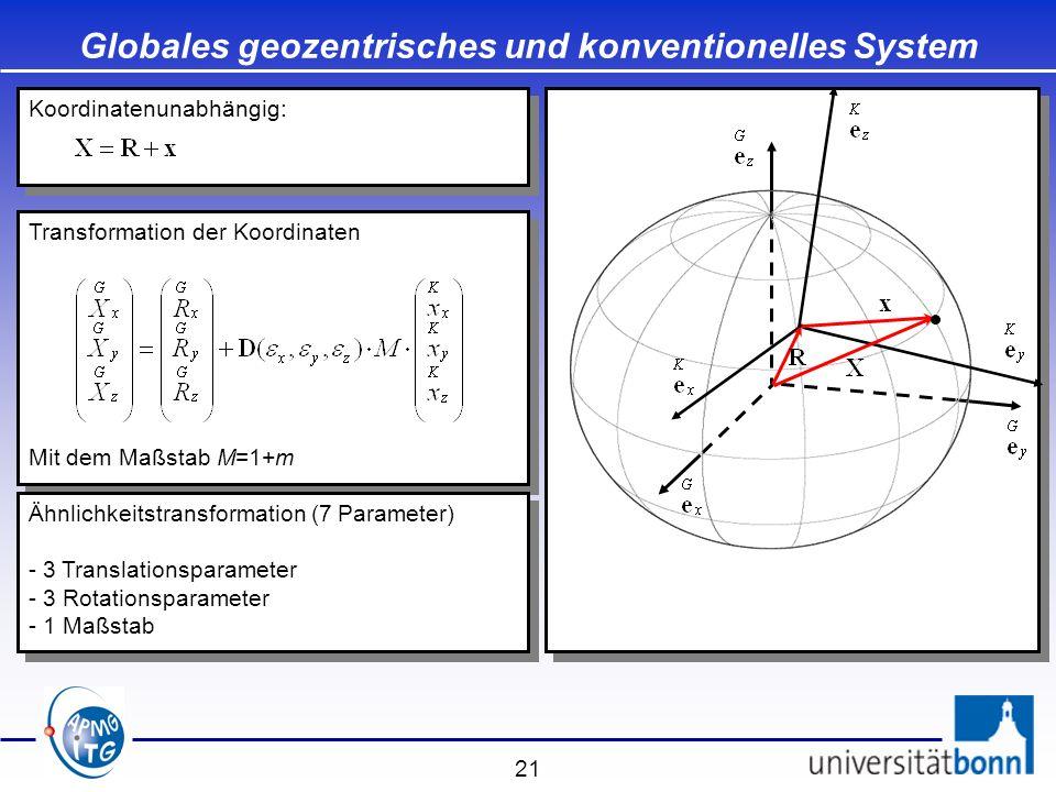 21 Transformation der Koordinaten Mit dem Maßstab M=1+m Transformation der Koordinaten Mit dem Maßstab M=1+m Globales geozentrisches und konventionell
