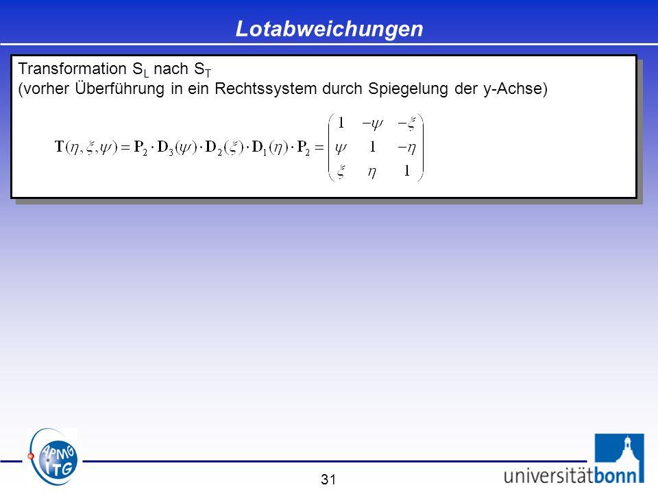 31 Lotabweichungen Transformation S L nach S T (vorher Überführung in ein Rechtssystem durch Spiegelung der y-Achse) Transformation S L nach S T (vorh