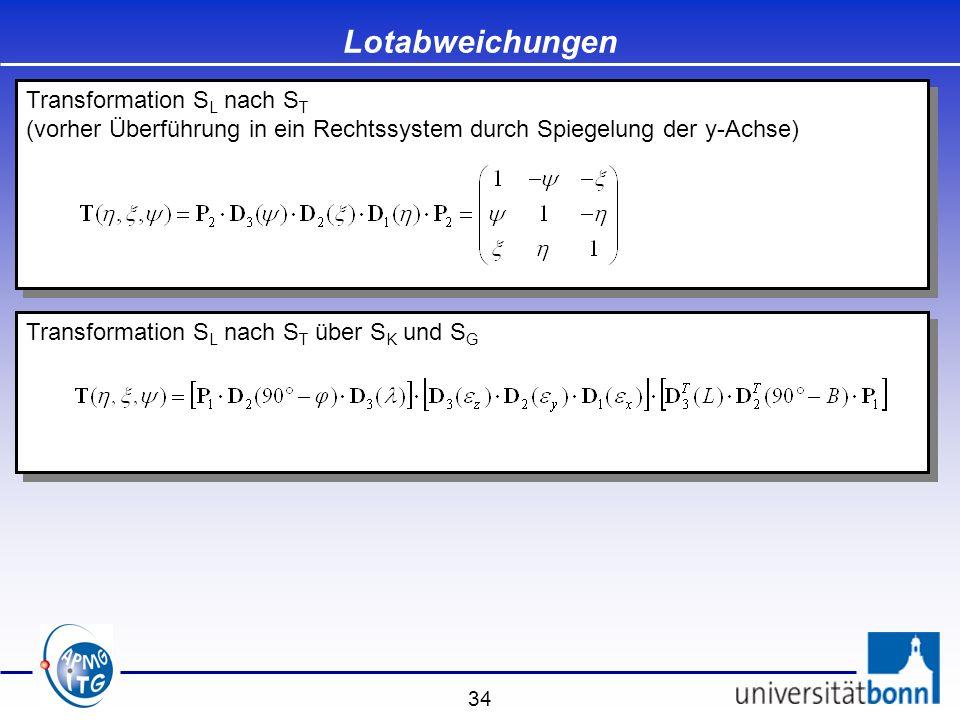 34 Transformation S L nach S T über S K und S G Lotabweichungen Transformation S L nach S T (vorher Überführung in ein Rechtssystem durch Spiegelung d