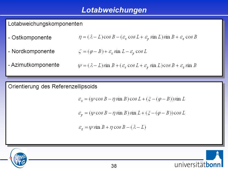 38 Lotabweichungen Lotabweichungskomponenten - Ostkomponente - Nordkomponente - Azimutkomponente Lotabweichungskomponenten - Ostkomponente - Nordkompo
