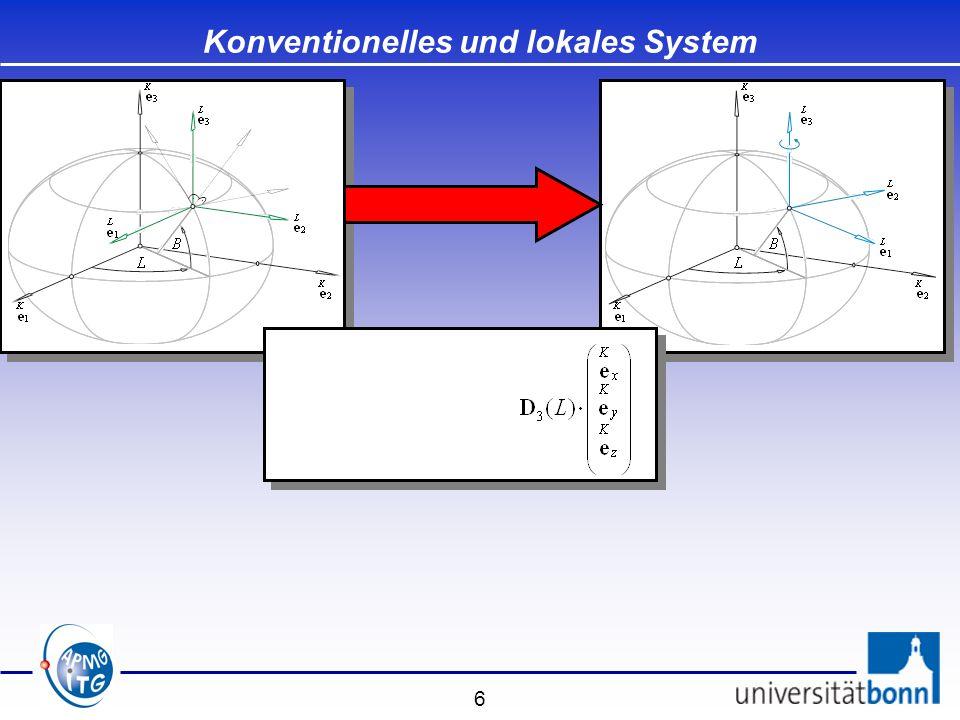 27 Spezielle Transformationen Modell von Veis - Drehpunkt ist der Fundamentalpunkt der Landesvermessung - Drehachsen sind Achsen des lokalen ellipsoidischen Systems S L Modell von Veis - Drehpunkt ist der Fundamentalpunkt der Landesvermessung - Drehachsen sind Achsen des lokalen ellipsoidischen Systems S L Drehmatrix