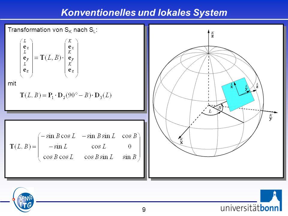 20 Globales geozentrisches und konventionelles System Koordinatenunabhängig: Transformation der Koordinaten
