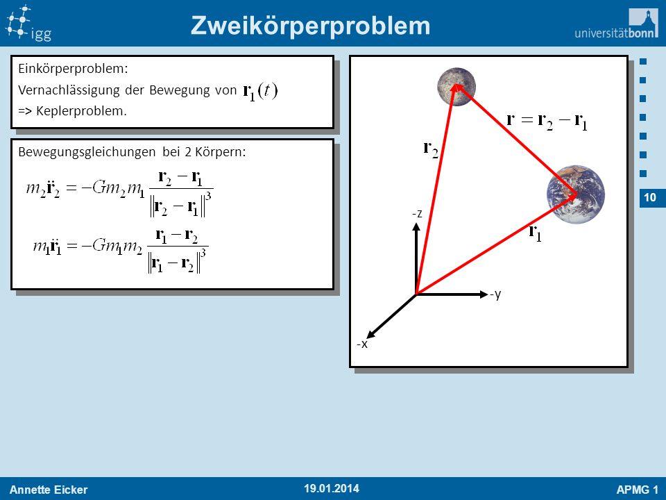 Annette EickerAPMG 1 10 19.01.2014 Zweikörperproblem -x-x -y-y -z-z Bewegungsgleichungen bei 2 Körpern: Einkörperproblem: Vernachlässigung der Bewegun