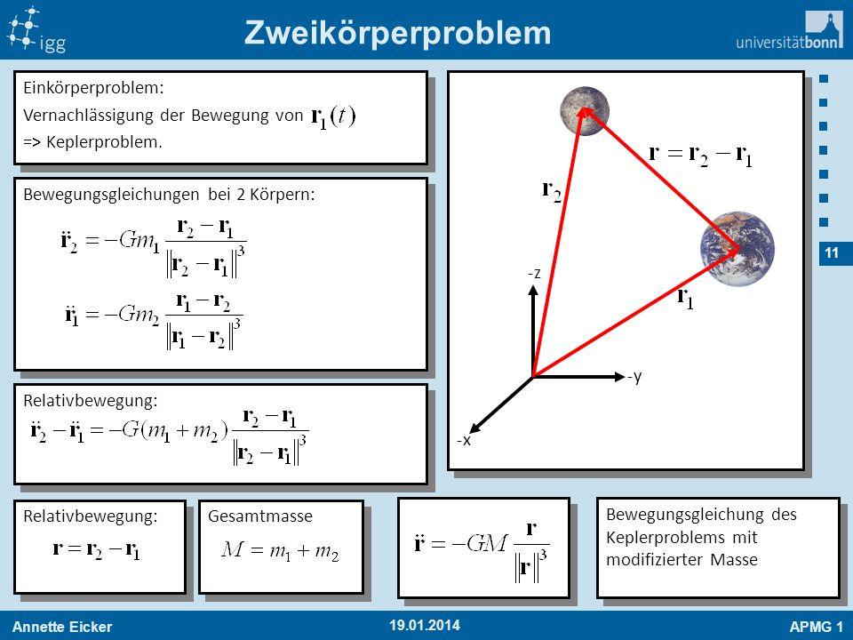 Annette EickerAPMG 1 11 19.01.2014 Zweikörperproblem -x-x -y-y -z-z Einkörperproblem: Vernachlässigung der Bewegung von => Keplerproblem. Einkörperpro