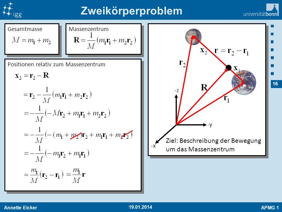Annette EickerAPMG 1 16 19.01.2014 Zweikörperproblem -x-x -y-y -z-z Gesamtmasse Massenzentrum Positionen relativ zum Massenzentrum Ziel: Beschreibung