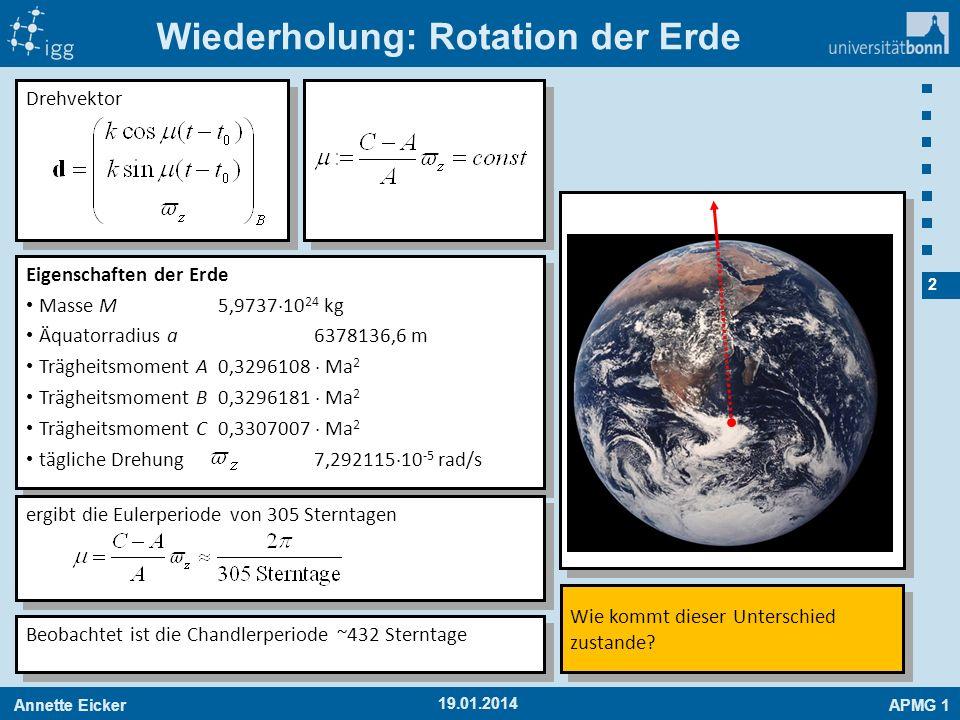 Annette EickerAPMG 1 2 19.01.2014 Wiederholung: Rotation der Erde Eigenschaften der Erde Masse M5,9737 10 24 kg Äquatorradius a6378136,6 m Trägheitsmo