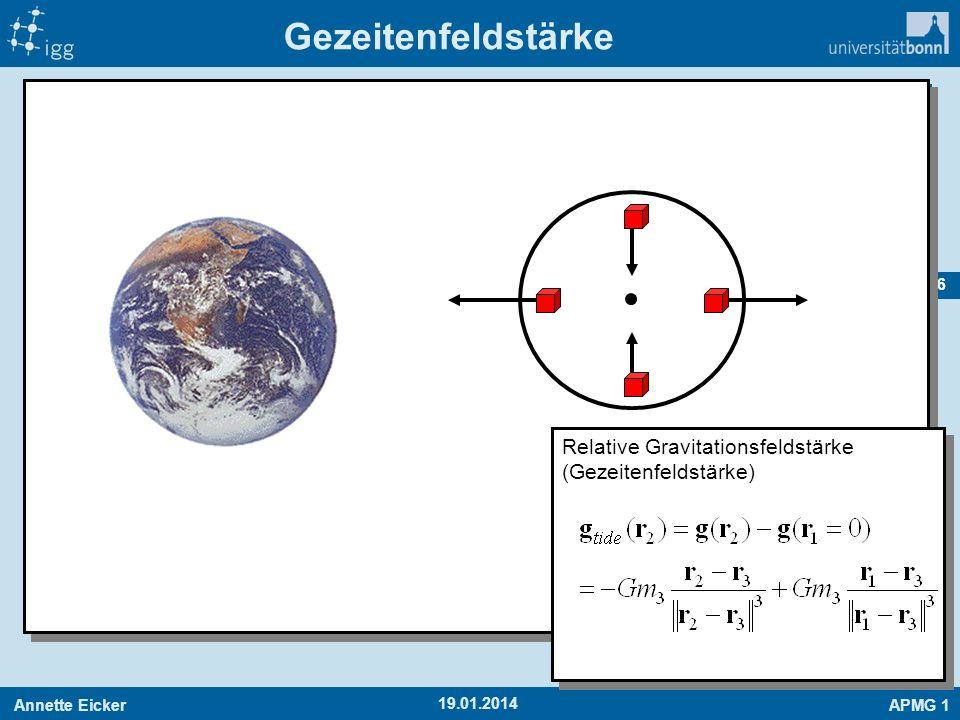Annette EickerAPMG 1 36 19.01.2014 Gezeitenfeldstärke Relative Gravitationsfeldstärke (Gezeitenfeldstärke)