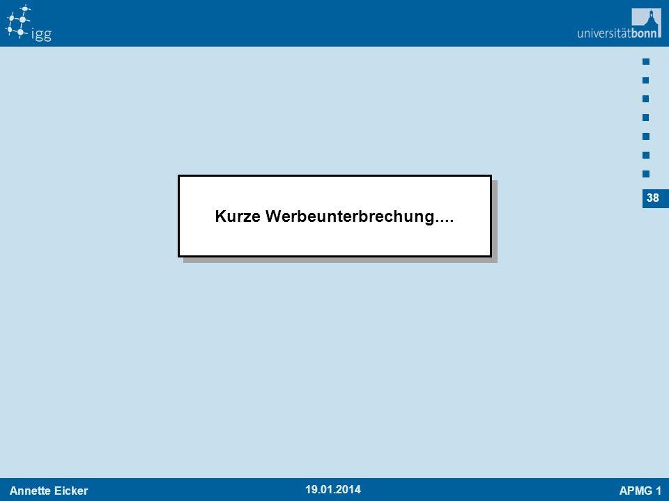 Annette EickerAPMG 1 38 19.01.2014 Kurze Werbeunterbrechung....