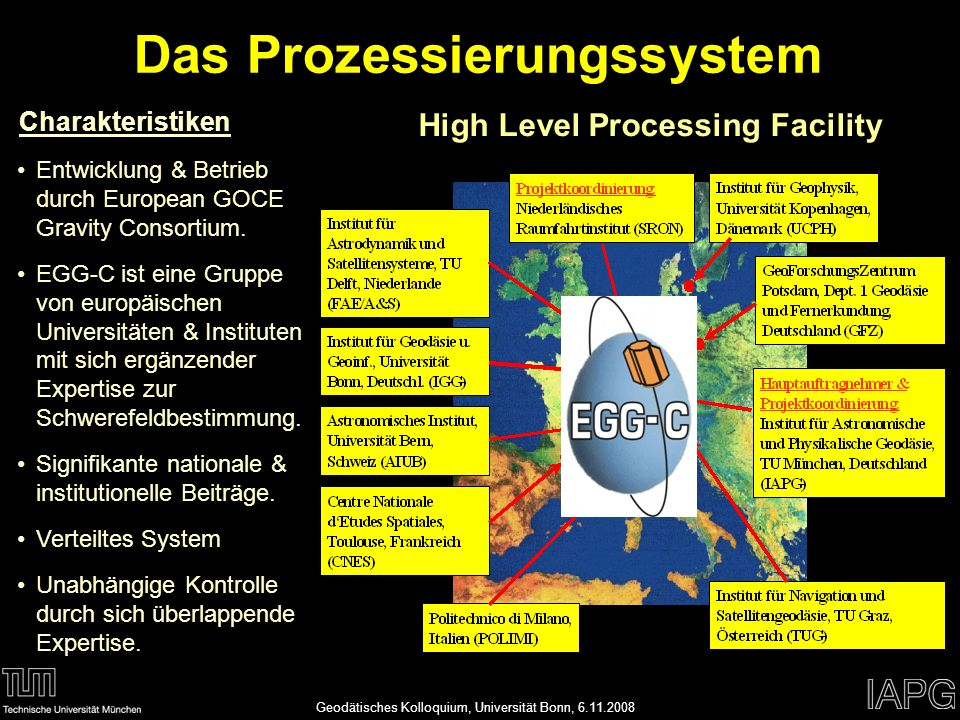 Annette EickerAPMG 1 45 19.01.2014 High Level Processing Facility Charakteristiken Entwicklung & Betrieb durch European GOCE Gravity Consortium. EGG-C