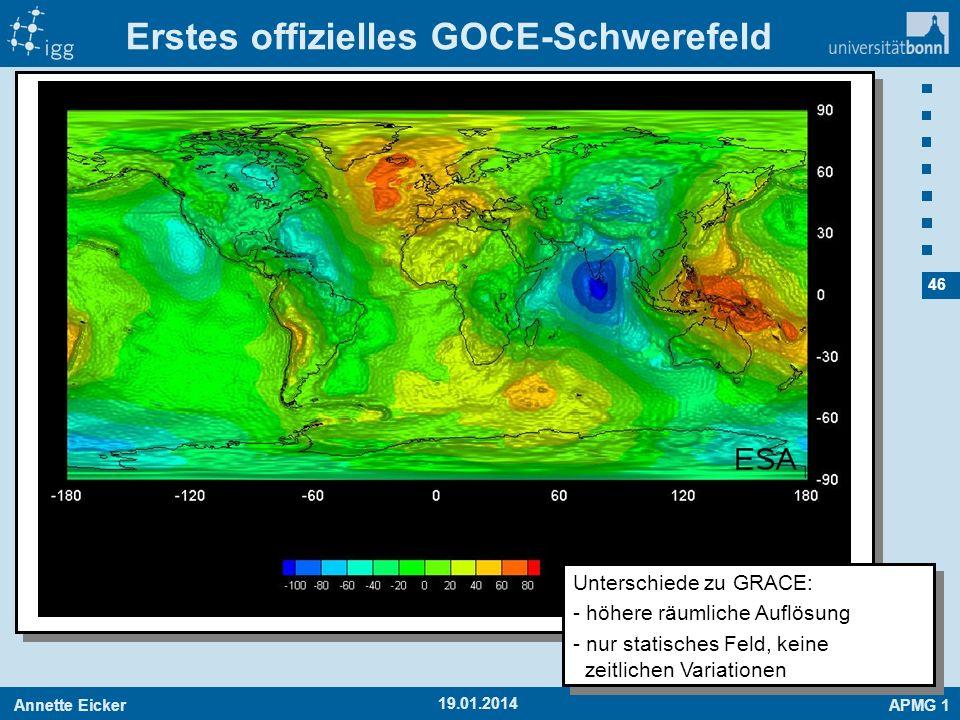 Annette EickerAPMG 1 46 Erstes offizielles GOCE-Schwerefeld 19.01.2014 Unterschiede zu GRACE: - höhere räumliche Auflösung - nur statisches Feld, kein