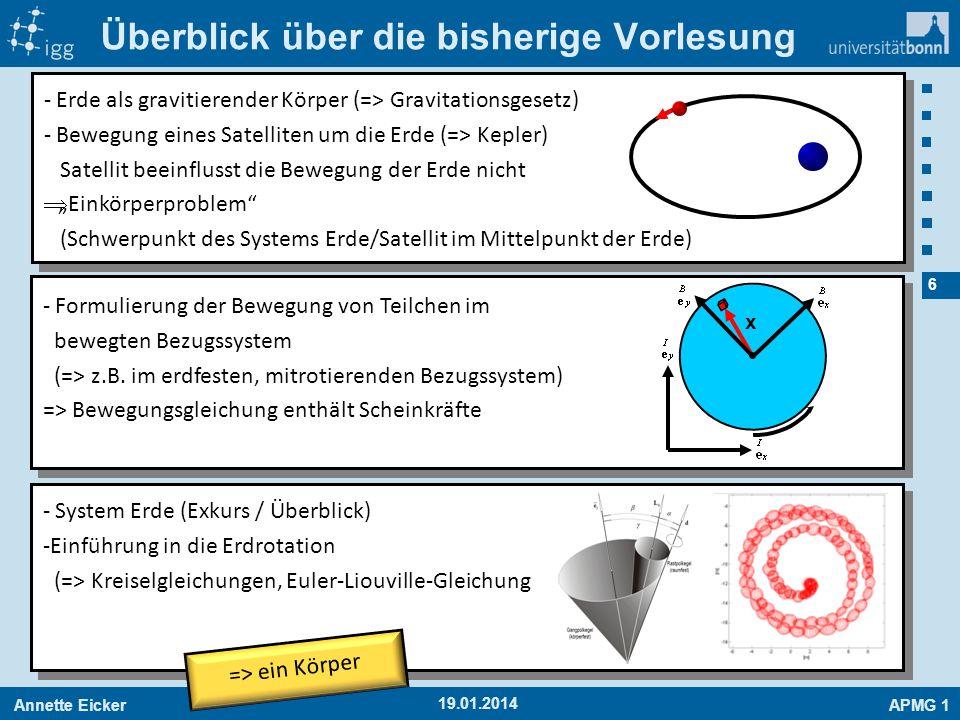 Annette EickerAPMG 1 6 Überblick über die bisherige Vorlesung 19.01.2014 - Erde als gravitierender Körper (=> Gravitationsgesetz) - Bewegung eines Sat