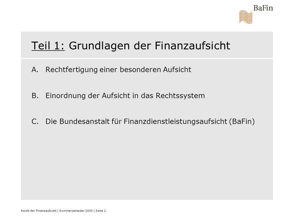 Recht der Finanzaufsicht | Sommersemester 2009 | Seite 3 A.