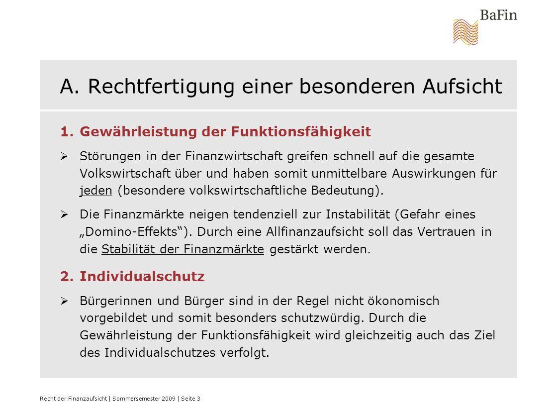 Recht der Finanzaufsicht | Sommersemester 2009 | Seite 4 A.