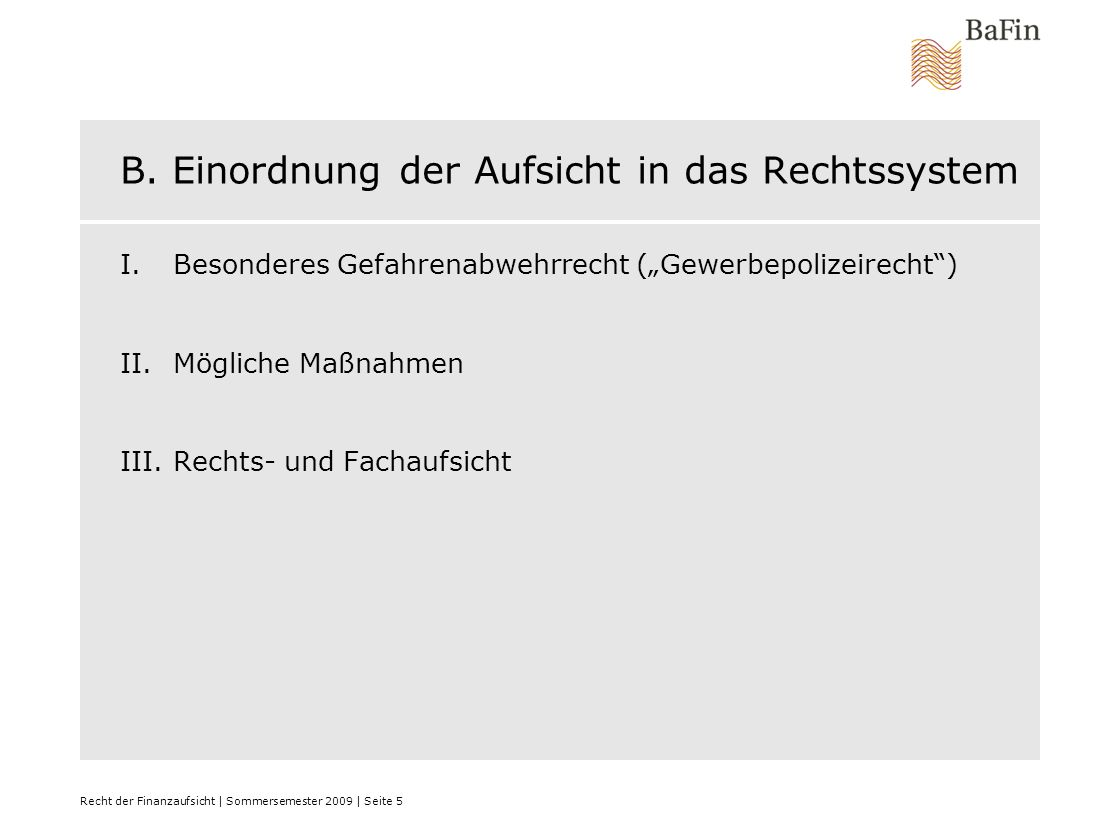 Recht der Finanzaufsicht | Sommersemester 2009 | Seite 6 I.