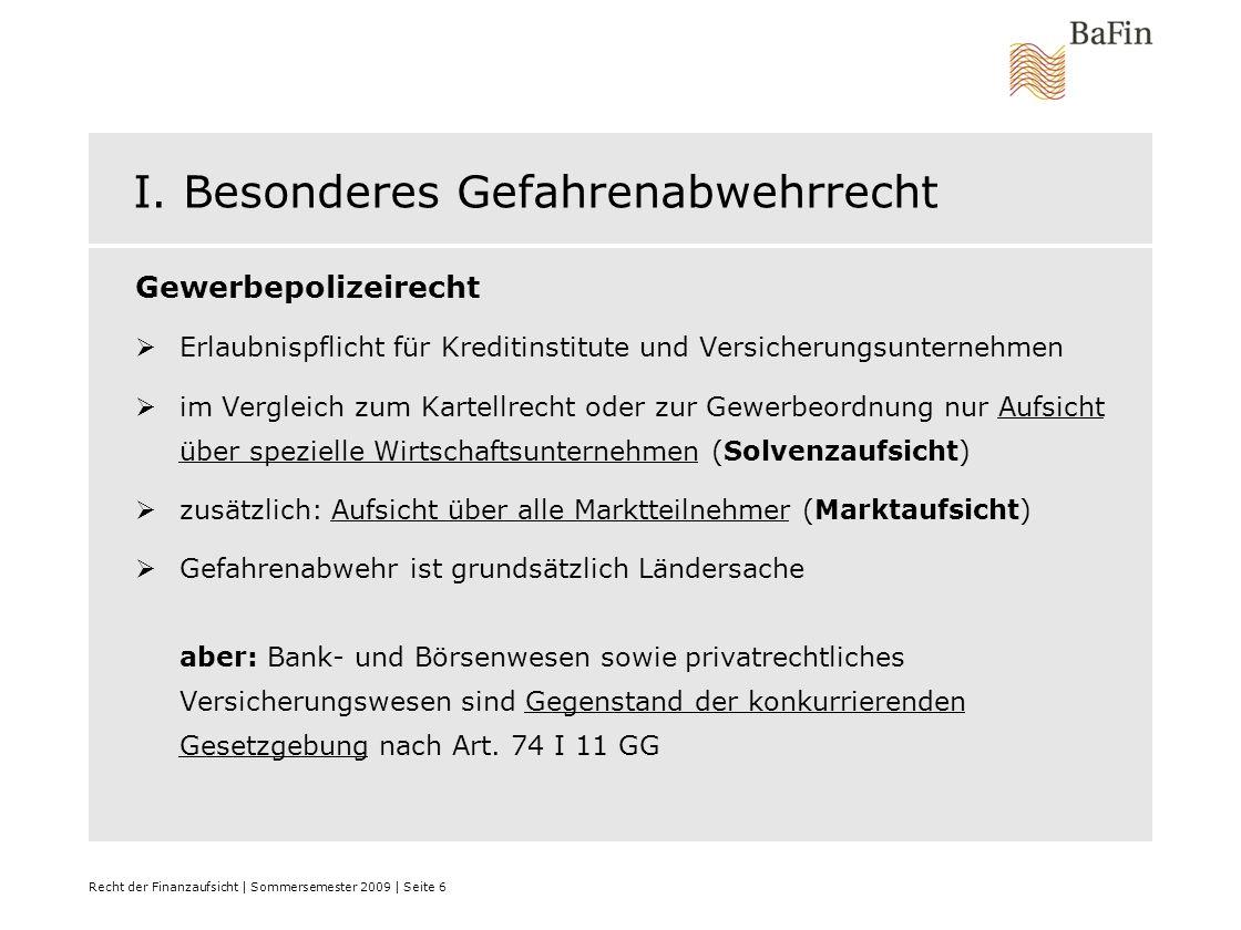 Recht der Finanzaufsicht | Sommersemester 2009 | Seite 7 II.