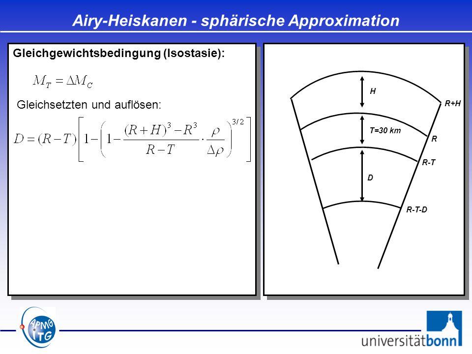 Gleichgewichtsbedingung (Isostasie): Airy-Heiskanen - sphärische Approximation D T=30 km H Gleichsetzten und auflösen: R R+H R-T R-T-D