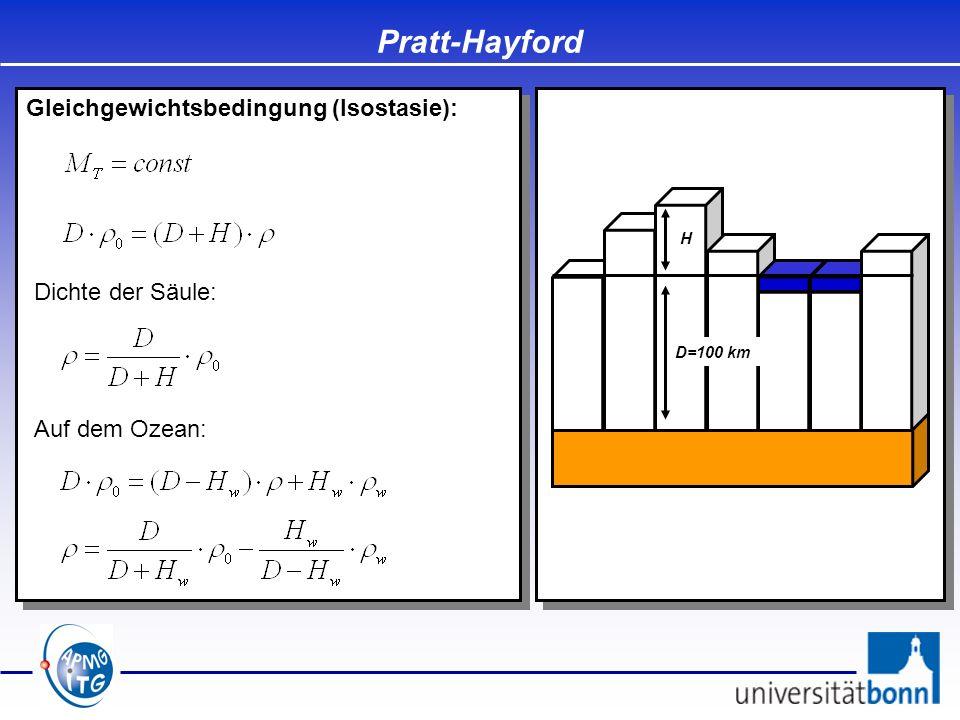 Gleichgewichtsbedingung (Isostasie): Pratt-Hayford D=100 km H Dichte der Säule: Auf dem Ozean: