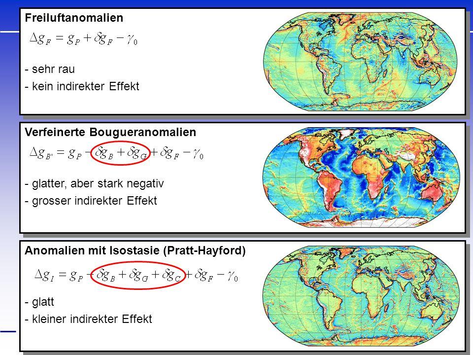 Anomalien mit Isostasie (Pratt-Hayford) - glatt - kleiner indirekter Effekt Anomalien mit Isostasie (Pratt-Hayford) - glatt - kleiner indirekter Effek