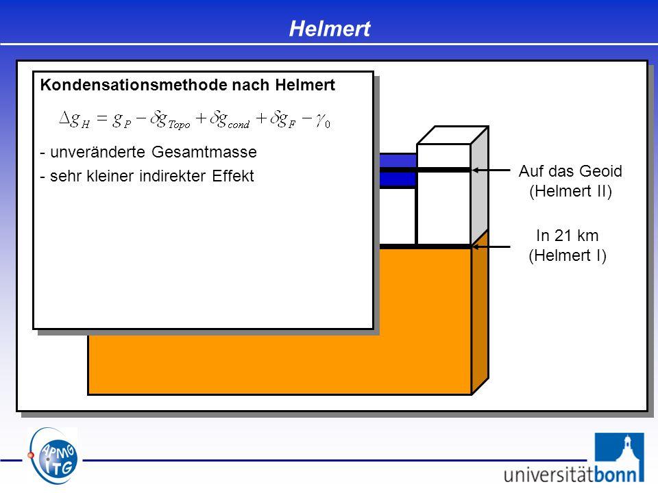Auf das Geoid (Helmert II) In 21 km (Helmert I) Helmert Kondensationsmethode nach Helmert - unveränderte Gesamtmasse - sehr kleiner indirekter Effekt
