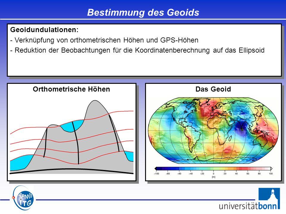 Bestimmung des Geoids Das Geoid Orthometrische Höhen Geoidundulationen: - Verknüpfung von orthometrischen Höhen und GPS-Höhen - Reduktion der Beobacht