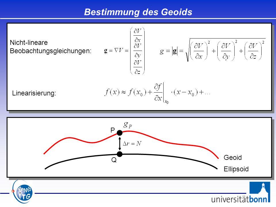 Bestimmung des Geoids Ellipsoid Geoid P Q Nicht-lineare Beobachtungsgleichungen: Linearisierung: