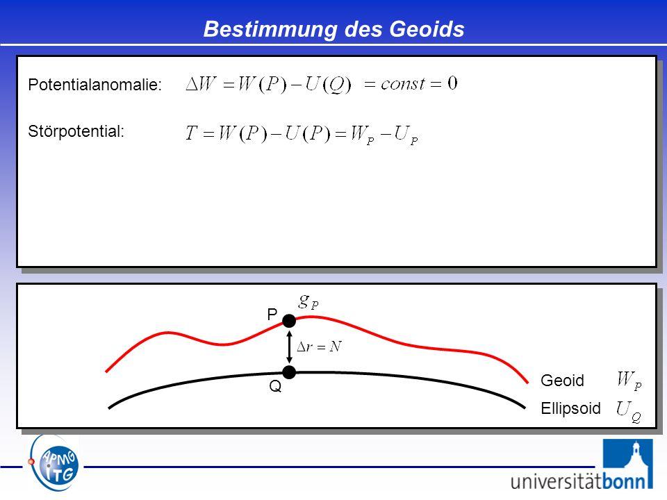 Bestimmung des Geoids Ellipsoid Geoid P Q Potentialanomalie: Störpotential: